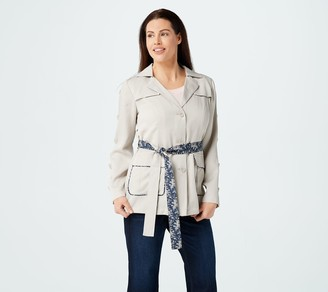 Laurie Felt Belted Utility Jacket with Contrast Print Details