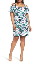 London Times Plus Size Women's Cold Shoulder Shutter Pleat Sheath Dress