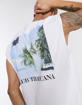 ASOS DESIGN Wham oversized sleeveless t-shirt with club tropicana print