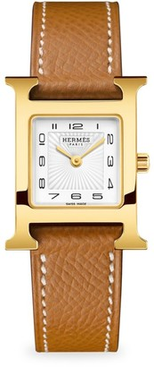 Hermes Heure H 21MM Goldplated & Leather Strap Watch