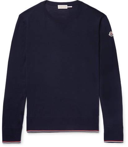 Moncler Slim-Fit Stripe-Trimmed Virgin Wool Sweater