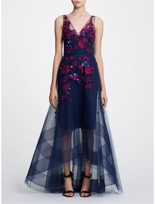 Marchesa Notte Sleeveless V-Neck High-Low Gown