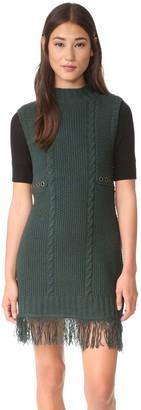 Moon River Women's Turtleneck Sleeveless Sweater Dress with Fringe