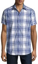 Robert Graham East Timor Plaid Short-Sleeve Sport Shirt, Blue