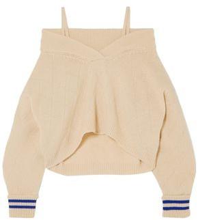 Maison Margiela Cold-shoulder Pointelle-knit Wool-blend Sweater