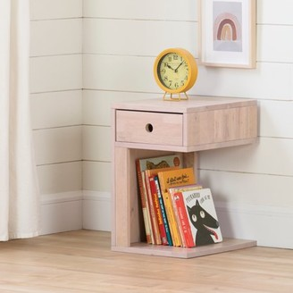 South Shore Sweedi Solid Wood 1-Drawer Nightstand, Pink Wood