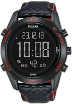 Pulsar Pulsar Solar Black and Red Detail Digital Dial Black Leather Strap Mens Watch