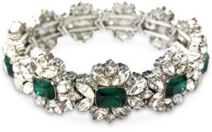 Charter Club Silver-Tone Crystal & Stone Flower Stretch Bracelet, Created for Macy's