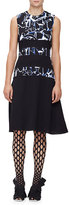 Proenza Schouler Sleeveless Scribble-Print Dress, Black/Indigo Shattered