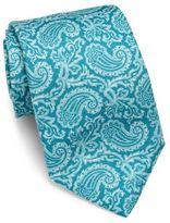 Isaia Paisley Print Linen & Silk Tie