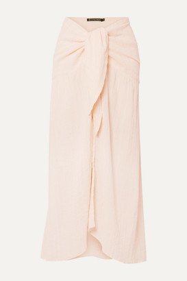Vix Crinkled Cotton-blend Voile Pareo - Pink