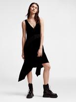 DKNY Velvet V-Neck Ribbed Insert Dress