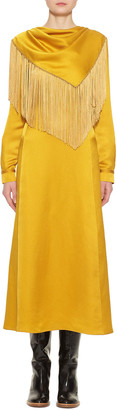 Gabriela Hearst Rouge Silk Fringe Midi Scarf Dress