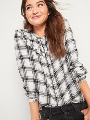 Old Navy Plaid Ruffle-Yoke Flannel Shirt for Women