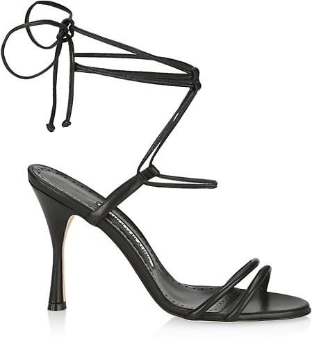 Manolo Blahnik Cochisa Ankle-Wrap Leather Sandals