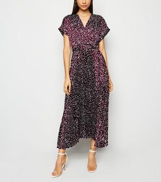 New Look Satin Spot Pleated Midi Dress