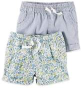 Carter's 2-Pack Floral/Hickory Stripe Shorts in Blue