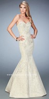 La Femme Dramatic Lace Sweetheart Mermaid Prom Gown