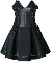 Leka Black Neoprene Dress with Leather Bow Applique