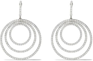 Kiki McDonough 18kt white gold Lola triple diamond hoop earrings
