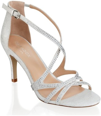 Paradox London Romelia Silver Low Heel Crossover Strappy Sandals
