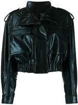 Norma Kamali cropped faux leather jacket