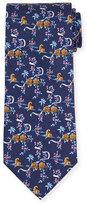 Salvatore Ferragamo Jungle-Print Silk Tie, Blue