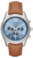 Michael Kors Lexington Stainless Steel Leather Strap Chronograph Watch