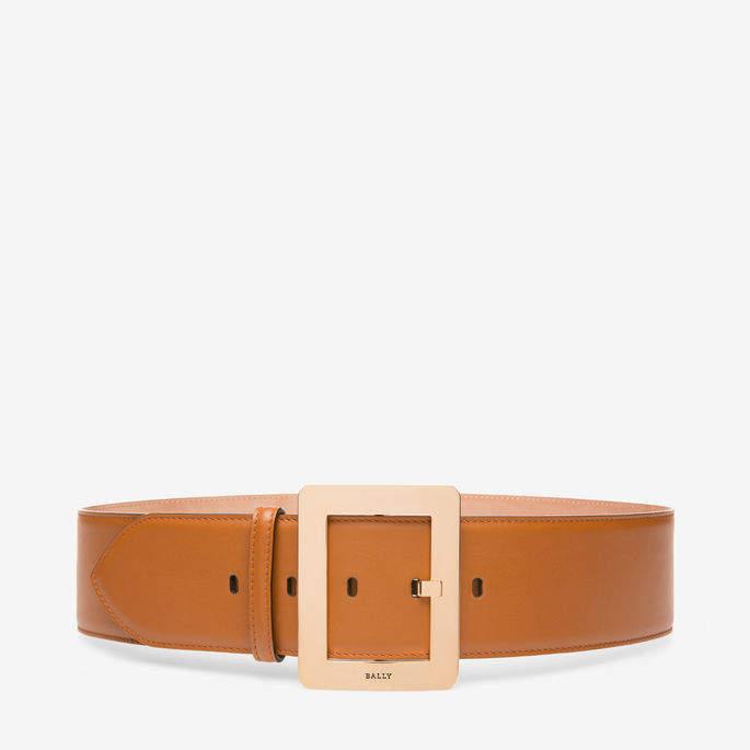 Bally Belle Belt 55Mm Brown, Women's plain calf leather fixed belt in tan