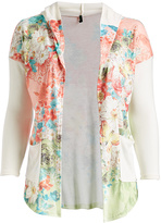 Pink Floral Hooded Open Cardigan