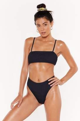 Nasty Gal Womens Shirring Good High-Waisted Bikini Set - black - 4