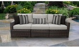 Kathy Ireland Homes & Gardens By Tk Classics River Brook 3 Piece Outdoor Patio Sofa with Cushions Homes & Gardens by TK Classics