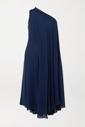 Roland Mouret Ordesa One-shoulder Pleated Crepe Dress - Navy