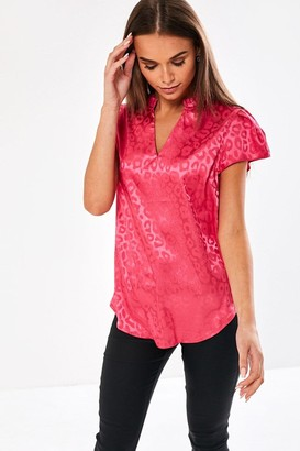 iClothing Ailsa Animal Print Blouse in Pink