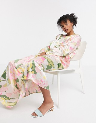 Selected Mola silky floral print maxi dress in cream