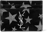 Saint Laurent Glittered Suede Cardholder - Black