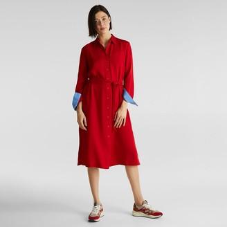 Esprit Tie-Waist Midi Dress with Long Sleeves