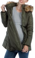 Women's Modern Eternity Convertible Maternity Puffer Jacket With Faux Fur Trim