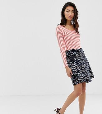 Esprit skater skirt with diamond print in navy
