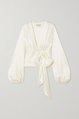 Alexandre Vauthier Silk-blend Satin Wrap Blouse - White