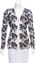 Oscar de la Renta Embroidered Open Front Sweater