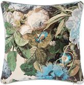 Pompadour Mulberry Home - Floral Velvet Cushion - 45x45cm - Sage