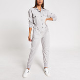 River Island Grey drawstring waist denim boiler jumpsuit