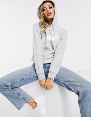 Puma Essentials cropped hoodie in gray