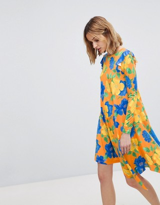Asos Design Mini Dress With Asymmetric Hem In Bright Floral-Multi