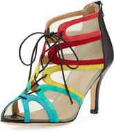 Neiman Marcus Palmyra Mesh Metallic Sandal, Multi