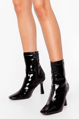 Nasty Gal Womens Keep It Zipped Heeled Sock Boots - Black