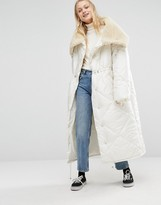 Monki Oversized Maxi Padded Jacket With Faux Fur Collar