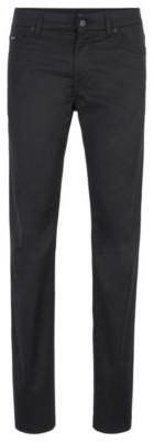 HUGO BOSS Regular Fit Jeans In Washed Stretch Denim - Black
