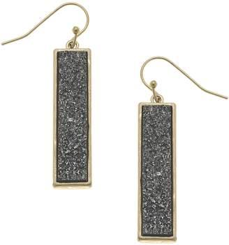 Canvas Druzy Bar Linear Earrings